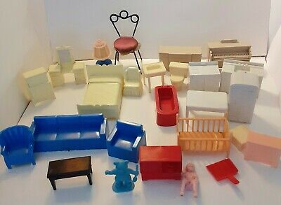 Vintage Marx and unmarked Plastic  Dollhouse Furniture Lot