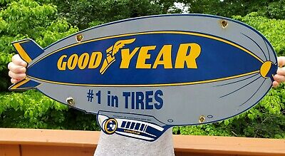 "Large 23"" 1962 Dated Goodyear Tires Porcelain Advertising Sign Blimp Goodyear"