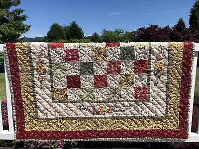 "Vintage Patchwork Quilt ( 58""x48""  ) With Embroidered Ribbon Floral Details."