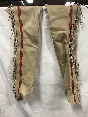 VINTAGE beige/red COWBOY WESTERN LEATHER CHAPS with RARE TALON ZIPPER