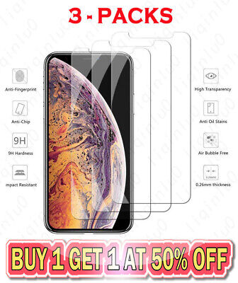 3-Pack For iPhone 11 Pro 8 7 SE Plus X Xs Max XR Tempered GLASS Screen Protector
