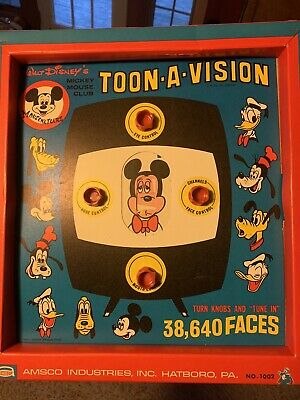 Amsco Walt Disney Toon-A-Vision Toy Mickey Mouse Club TV Toy Game #1002 Downy