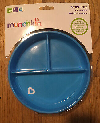 Munchkin Stay Put Suction Plate, Blue, NEW
