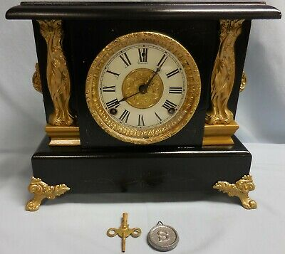SESSIONS Black Wood Mantel/Shelf CLOCK