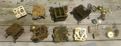 ANTIQUE LOT 8 Vintage Clock Brass Movements for Repair or Parts + Extra