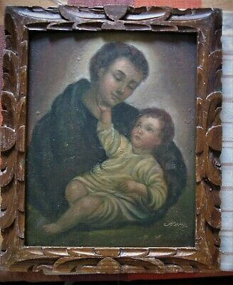 WONDERFUL RETABLO ON TIN WITH IMAGE OF Saint Anthony With Christ Child