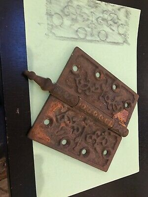 "Victorian Antique Cast Iron Ornate Steeple Tip Door Hinges 4 1/2"" X 4 1/2"""