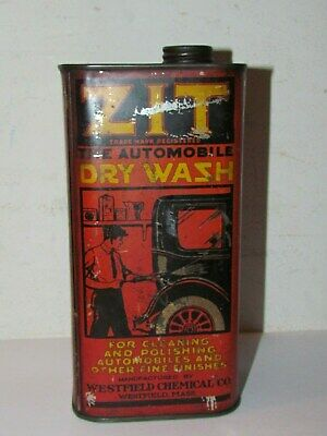 Rare Zit Automobile Dry Wash Tin Can Westfield Mass Service Station  Oil Can