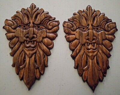 Antique Artchitecural Wood Carved Devil Gargoyle North Wind Faces Pair Gr8detail
