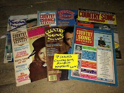 "Lot of 7 ""Country Song Roundup"" Magazines VTG Music~Johnny Cash, Merle Haggard +"