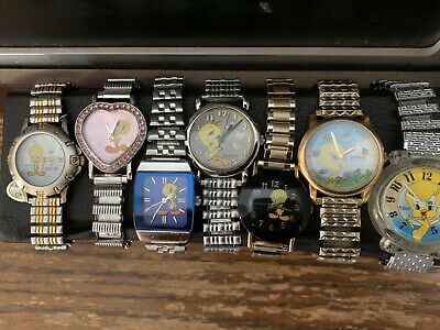 VTG  Rare Lot of 7 Tweety Bird Watches Looney Tunes Warner Bros