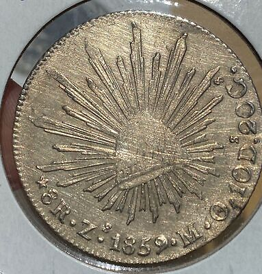 Mexico 1859 Zs Zacatecas Mint Silver Cap and Ray 8 Reales 510-15