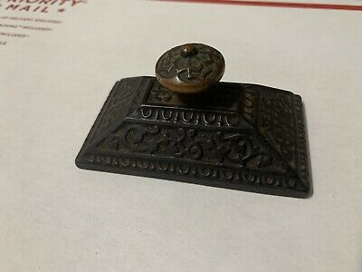 Antique Ornate Cast Iron Paperweight Eastlake Victorian Bronze Knob Desk Office