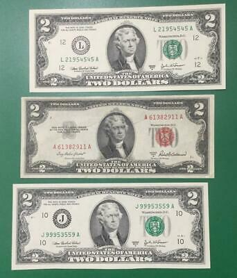 2003A 1953A & 2003A $2 Green & RED Deuces! Set of 3 Total! X4545 Old Currency