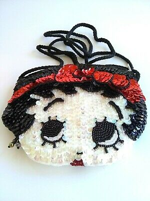 Betty Boop Collectible Double Sided Sequin & Beaded Small Purse Evening Bag VGUC