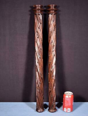 "*26"" Pair of French Antique Solid Walnut Posts/Pillars/Columns/Balusters Salvage"