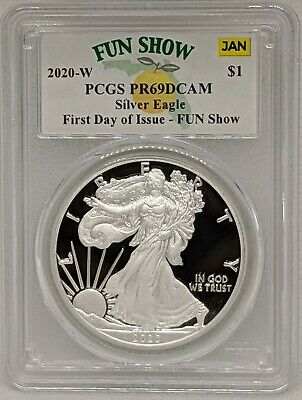 2020 W Silver Eagle Proof $1 PCGS PR69DCAM First Day of Issue Fun Show