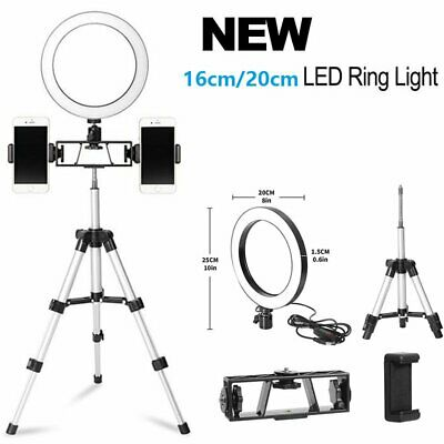 6/8'' Dimmable LED Ring Light & Tripod & Flexible Arm & Adapter For Vlog Video