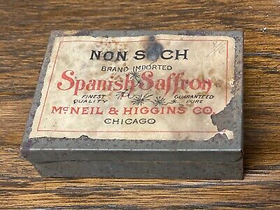 Antique Non Such Spanish Saffron Tin McNeil & Higgins Chicago Il Early Spice Ad
