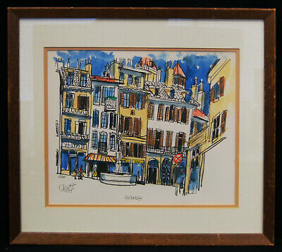 "Bill Olendorf ""Geneva"" Signed Lithograph LE #4/300 Framed 18x16"" A8688"