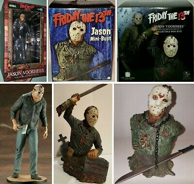 ❗❗❗❗ (LOT OF 3)   Friday 13th Jason Voorhees Statues Mini Busts Figurines ❗❗❗❗
