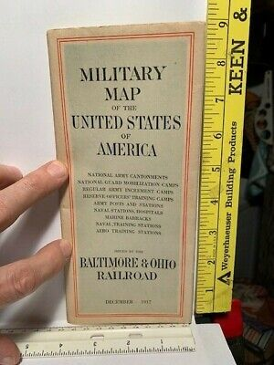 1917 Ww1 B&O Rr Map Us Military Training Camps Army Navy Marine Posts Inst Bases