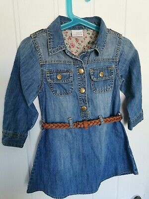 Next Girls Belted Blue Denim Dress Age 2 To 3 2-3 Years