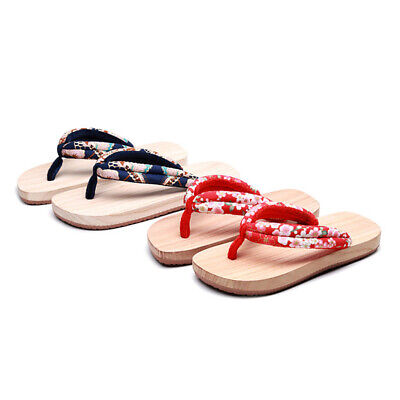Lovers Geta Japanese Clogs Wooden Open Toe Flip Flops Summer Casual Slippers
