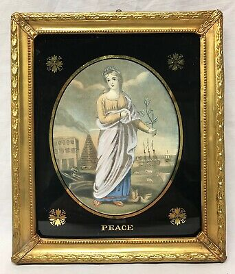 Antique Regency Hand Colored Engraving Mezzotint Peace Early 19th Century
