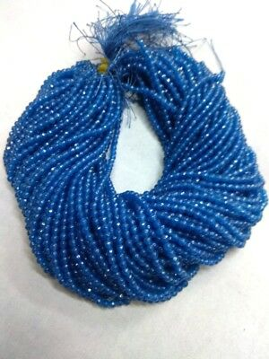 """10 Strand Blue Chalcedony Round Faceted 4-4.5mm 13""""inch Gemstone Beads D1"""