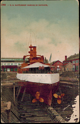 Color Postcard US Navy Battleship USS Oregon in Dry Dock, Spanish American War