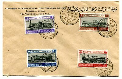 Egypt 1933 International Railway Congress set on illustrated first day cover