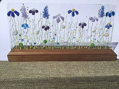 Unique Handmade Flower Meadow Fused Glass 3D Wave Sun Catcher