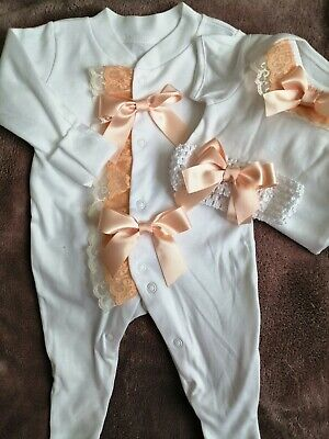 Newborn Baby Girls Babygrow And Vest And Headband Set Peach Frilly Lace Bows...