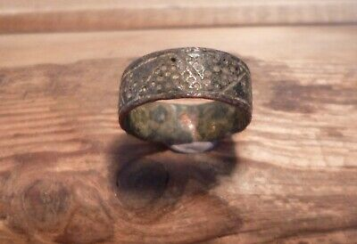 Stunning Highly Decorated Saxon Or Late Medieval Copper Ring-Detecting Find