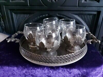 Lovely Vintage Plated Goblet Set And Tray