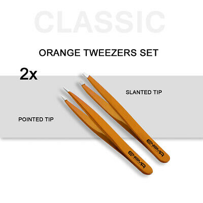 ENIGMA Professional Eyebrow Sharp Pointed, Slanted Tweezers SET - Orange