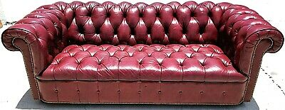 Tufted Genuine Leather CHESTERFIELD Burgundy Color Sofa Couch w French Nail Trim