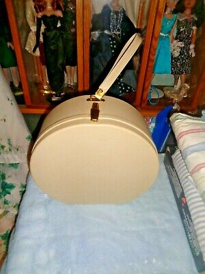 "Rare-Vintage 11.5"" Tall Round Overnight/Hat Ecru Train Suitcase-Very Clean-Nice!"
