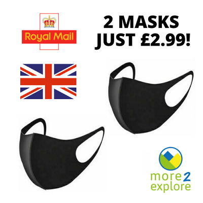 Pack of 2 Black Face Mask/Covering. Washable/Reusable. UK Stock = Fast Delivery!