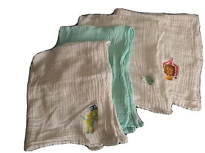 Lily & Dan Baby Girl / Boy Muslin Squares X 4 100% cotton