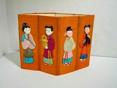 Vintage Silk & Paper Chinese Dolls on Cloth-Covered Cardboard 8 Figures c.1940