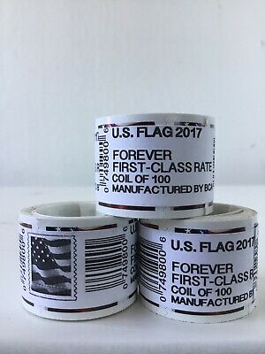 USPS US Flag 2017 Forever Stamps Rolls - 100 Pieces (One Roll)