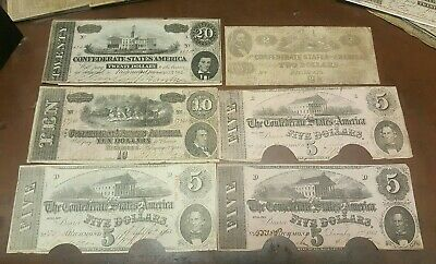1860's U.S CONFEDERATE CURRENCY COLLECTION LOT**** $2 $5 $10 $20