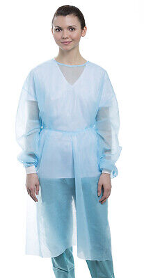 Dental Medical Isolation Gown with Knit Cuff Regular Size (Pack of 10) - Blue