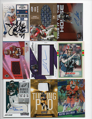 9 Card lot NFL Football Rookie RC Star RPA Auto Jersey Patch card lot #d