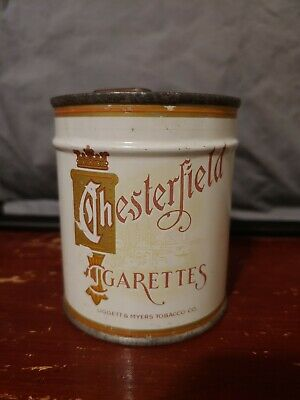 Vintage UNOPENED/SEALED Chesterfield 50 count cigarette tin; key-wind; TAX STAMP