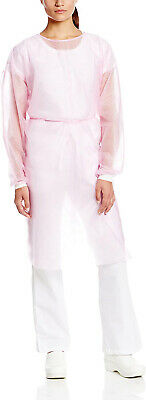 Dental Medical Isolation Gown with Knit Cuff Regular Size (Pack of 10) - Pink