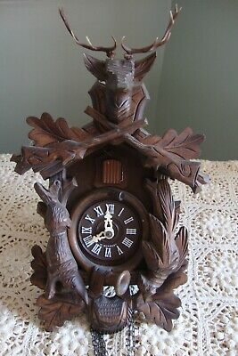 Vintage Black Forest Cuckoo Clock - Germany- Hunter Theme w / Stag - Hare - Bird