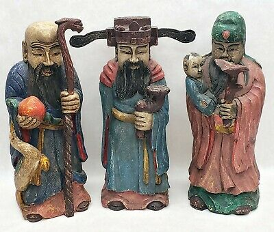 3 Large Chinese Carved Painted Wooden Statues Sanxing Fu Lu Shou Feng Shui Diety